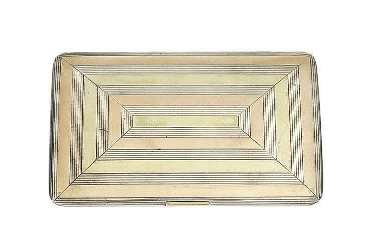 Cartier, boîte à cigarettes Art Déco à motif de rectangles cannelés
