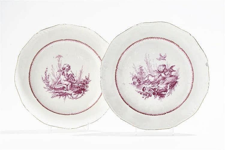 Paire d'assiettes, Vincennes, circa 1755