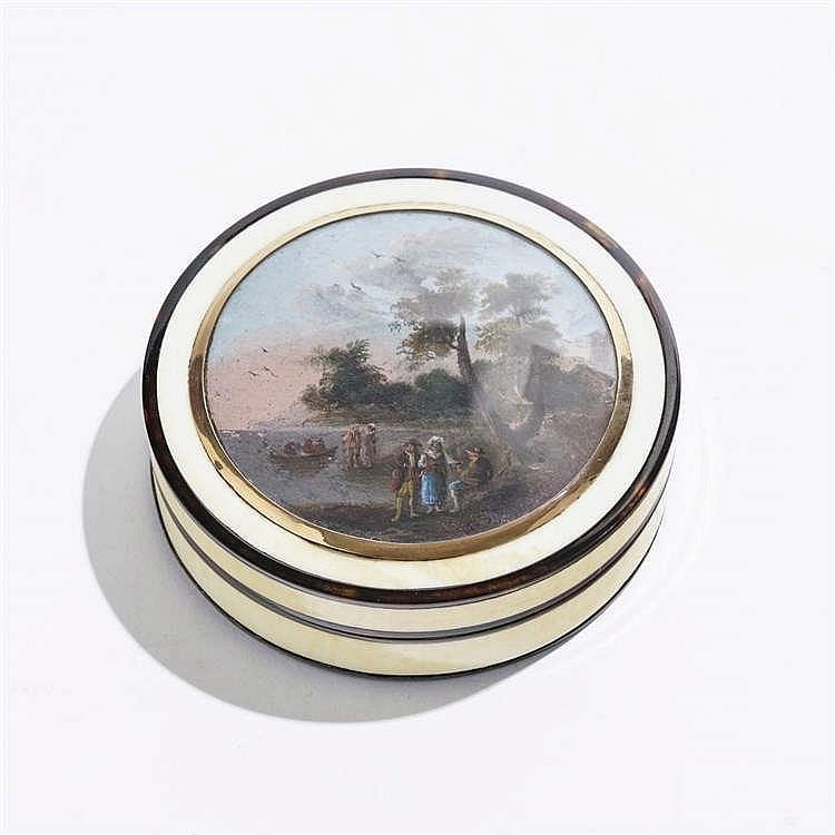 Boîte ronde à décor d'une scène animée au bord d'un lac