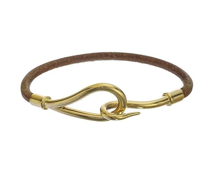 Hermès, bracelet Jumbo en cuir chamois
