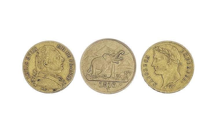 Lot de trois pièces d'or