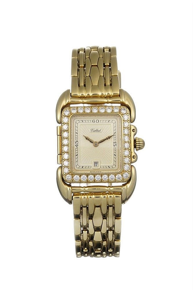 Tabbah, montre bracelet rectangulaire à quartz sertie de diamants