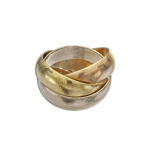 Cartier, Trinity, bague triple anneaux trois ors