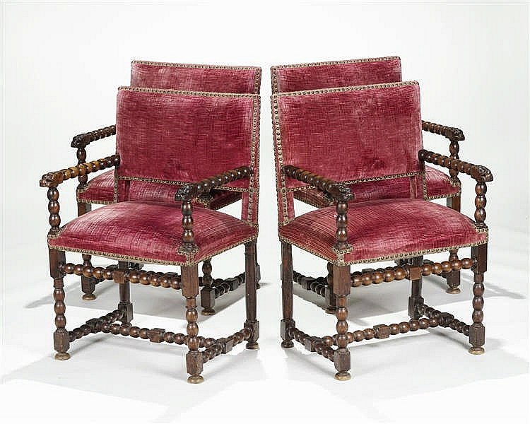 Quatre fauteuils, Italie ou France, XVIIe s