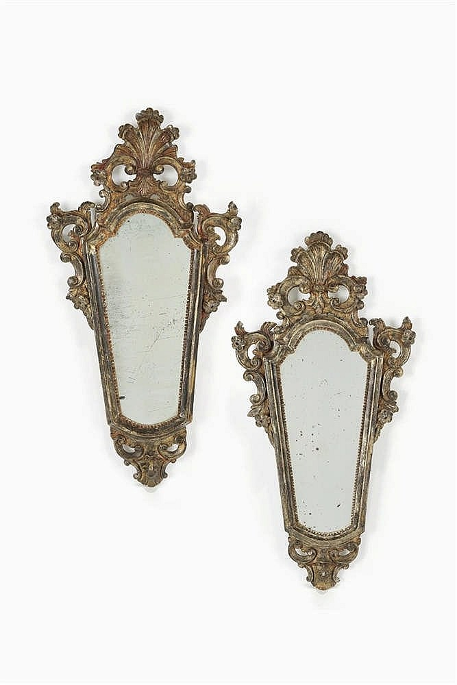 Paire de miroirs fronton italie d but xixe s for Miroir au mercure