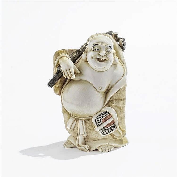Okimono figurant un homme gros, Japon, début XXe s