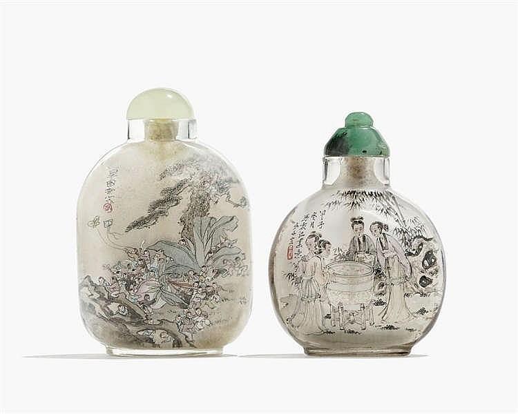Deux flacons à priser peints à l'intérieur, Chine, dynastie Qing (1644-1912)