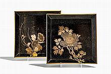 Paire de plateaux carrés, Japon, époque Meiji (1868-1912)