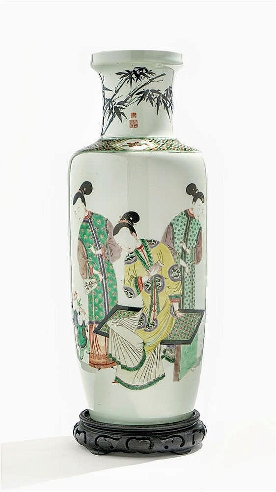 Vase rouleau famille verte, Chine, dynastie Qing (1644-1912)