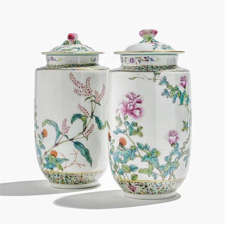Paire de pots couverts, Chine, période République (1912-1949), marque apocryphe Daoguang (1820-1850)