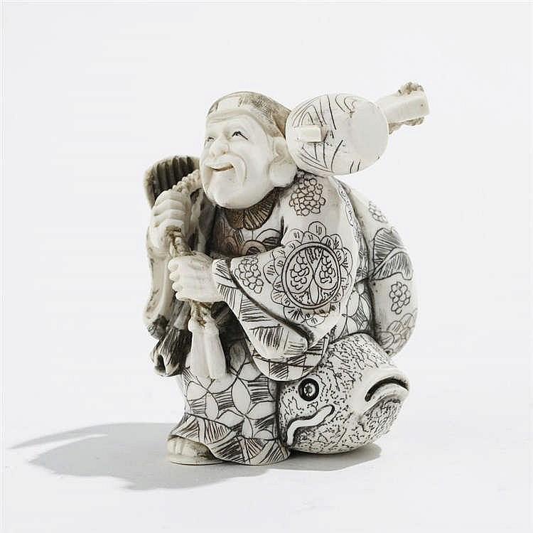 Okimono figurant un homme sur un poisson, Japon, début XXe s