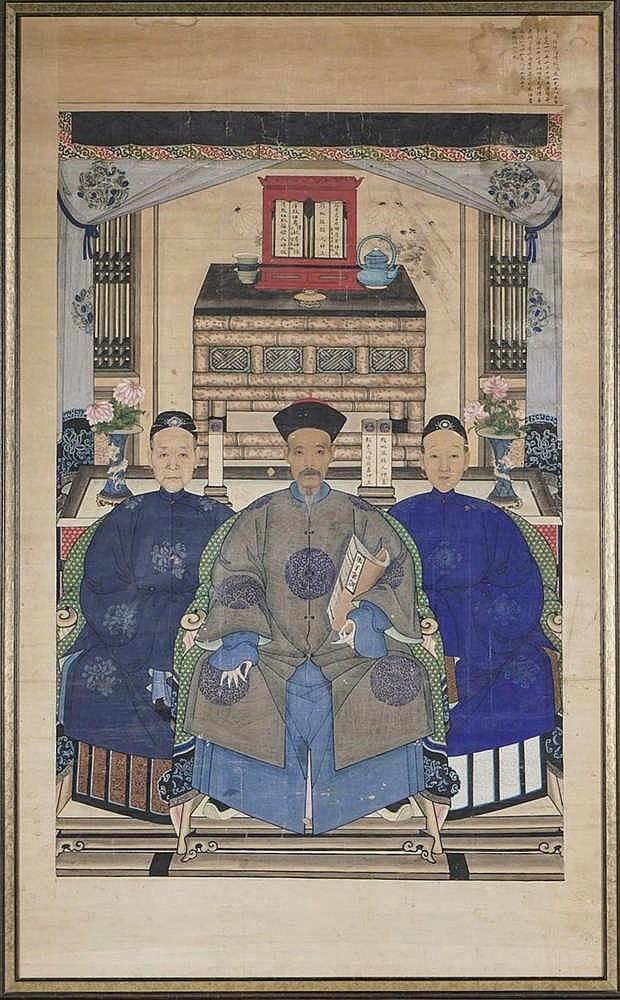 Triple portrait d'ancêtre, Chine, fin de la dynastie Qing (1644-1912)