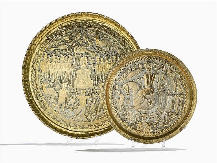 Deux plats ronds à décor de cavaliers et personnages, Iran