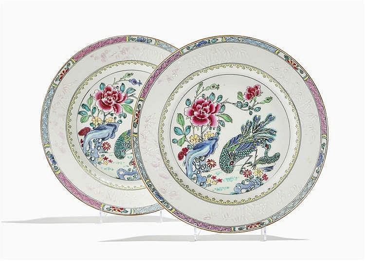 Paire d'assiettes, famille rose, Chine, époque Qianlong (1735-1796), XVIIIe s