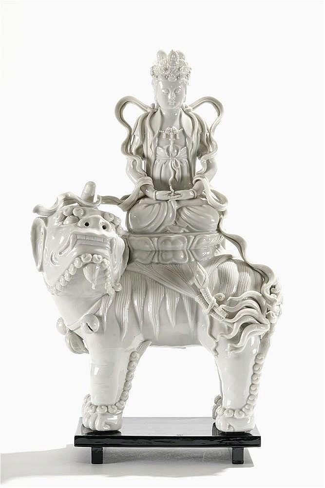 Guanyin Wenshu assise sur un lion, Chine, dynastie Qing (1644-1912), XIXe s