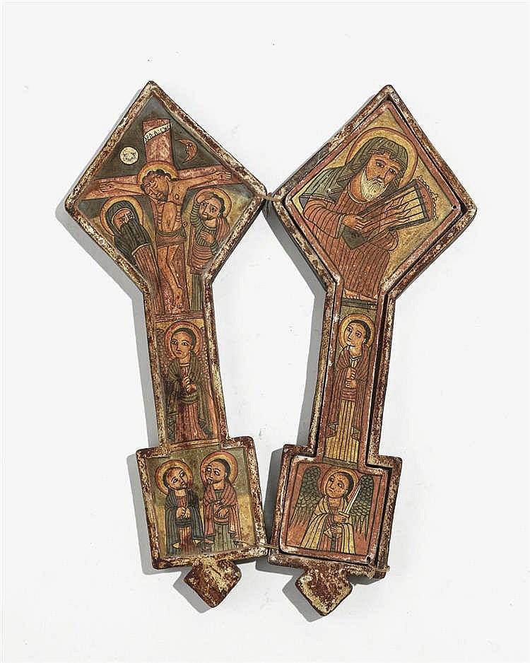 Croix d'adoration copte, Ethiopie, milieu XIXe s