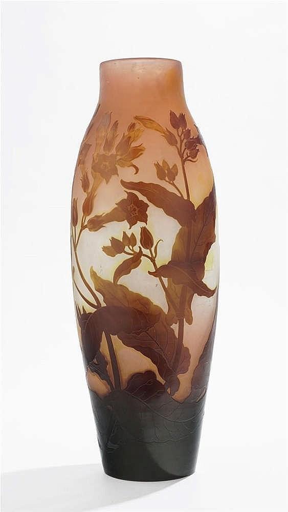 Important vase balustre signé Gallé
