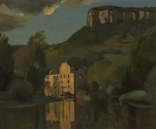 Pierre Jouffroy (1912-2000) Ruine au bord du lac, huile sur isorel, 45x55 c