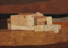 Charles Monnier (1925-1993) Mas de Vollonet, huile sur toile, 33x46 cm