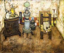 Georges Girard (1917-2003) Intérieur à la lampe, huile sur toile