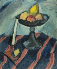 Gimmi Wilhelm, 1886-1965, Nature morte, coupe de fruits et bougeoir