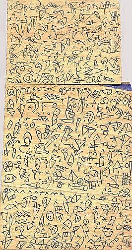 Hartmann Werner: Manhattan, 1987 Ink on wood