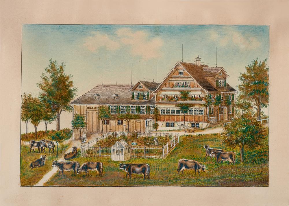Aemisegger-Giezendanner Anna B., 1831-1905, Weidende Kuehe vor Toggenburgerhaus