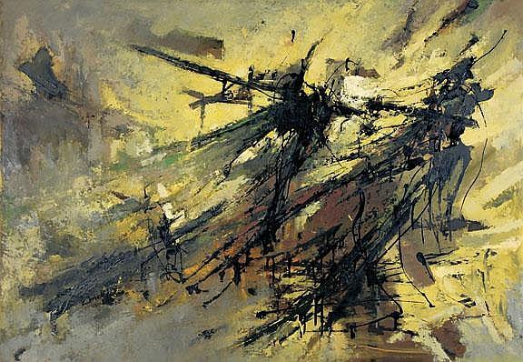 Ebneth Lajos von: Abstrakte Komposition, 1960: Oil