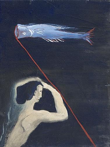 Ikemura Leiko: Figur mit Fisch, approx. 1980: Oil