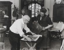 "Quinn Edward, 1920-1997, Picasso at the Printing of the Sheet ""Rencontre: Faune, Centaure et Homme aux Oreilles Pointures"" in La Californie"