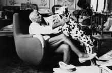 Quinn Edward, 1920-1997 (IRL) 2 photographs: Picasso mit seinem Dalmatiner; Picassos Atelier in der Villa La Californie bei Cannes