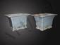 Paire de pots planteurs de forme quadrangulaire en porcelaine émaillée monochrome bleu claire. Chine. Dynastie Qing. 19 ème siècle. Ht 12cm x17cm.
