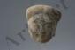 Tête de dame de cour . Terre cuite à traces d'engobe. Chine. Dynastie Han. 206 avant à 220 après JC. Ht 12cm.
