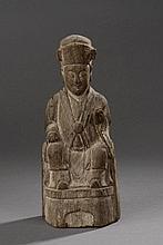 Divinité Taoïste. Bois.  Chine. Guizhou. Minorités Zhuan. Dynastie Qing. 18 ème siècle.  Ht25,8cm.
