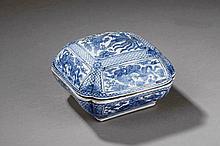 Boite oblongue quadrangulaire en porcelaine de la famille bleue décoré en émaux bleu cobalt sous la couverte de dragons céleste et phaenix en vol. Chine. Dynastie Qing. 19 ème siècle. Marque à la base. Ht  10cm x  15 x   15cm.