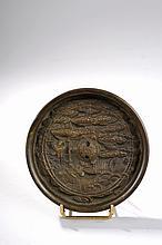 Miroir circulaire moulé d'un décor d'échassiers sous un pin. Bronze. Japon. Période Edo. 19 ème siècle. 12cm.