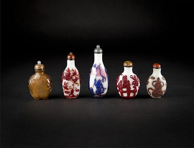 Qing, Five Overlay Snuff Bottles