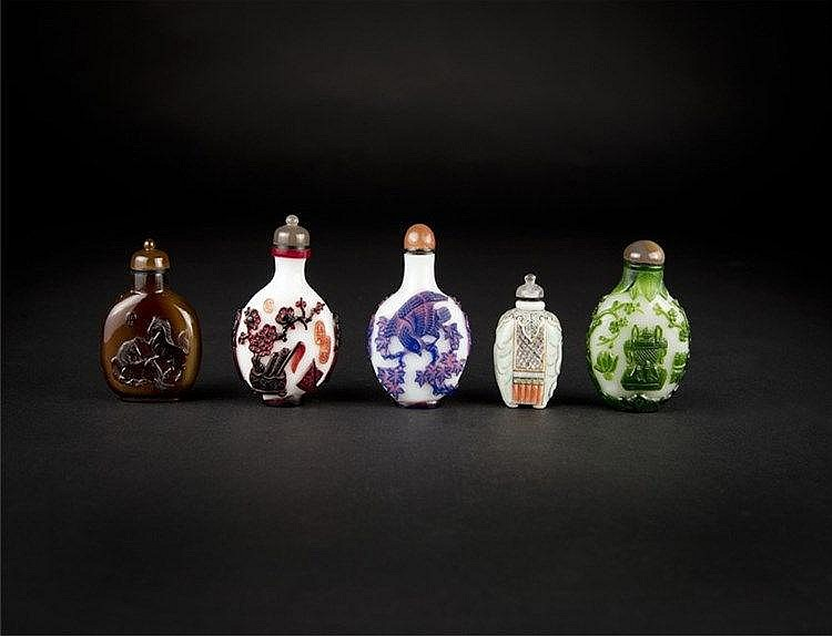 Qing, Five Overlay, Ceramic, Agate and Ivory Snuff Bottles