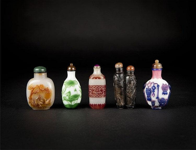 Qing, Five Overlay, Agate and Crystal Snuff Bottles
