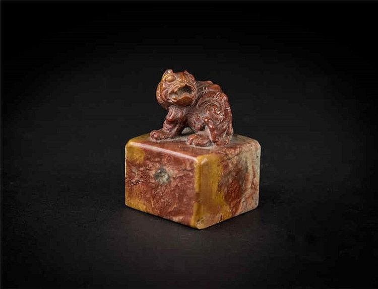Qing, Shoushan Stone Seal with Tiger Knob 清寿山石老虎印章
