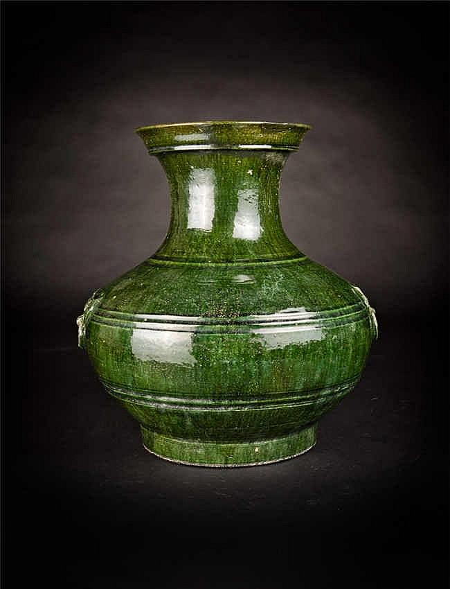 Yuan, Green-glazed Zun with Mock Handles 元代绿釉兽头尊