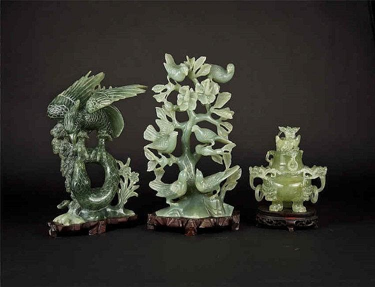Three Jade Carvings: Eagle Grasping Snake, Birds and Flowers and Tripod Censer 鹰抓蛇 花鸟枝 玉鼎三件套