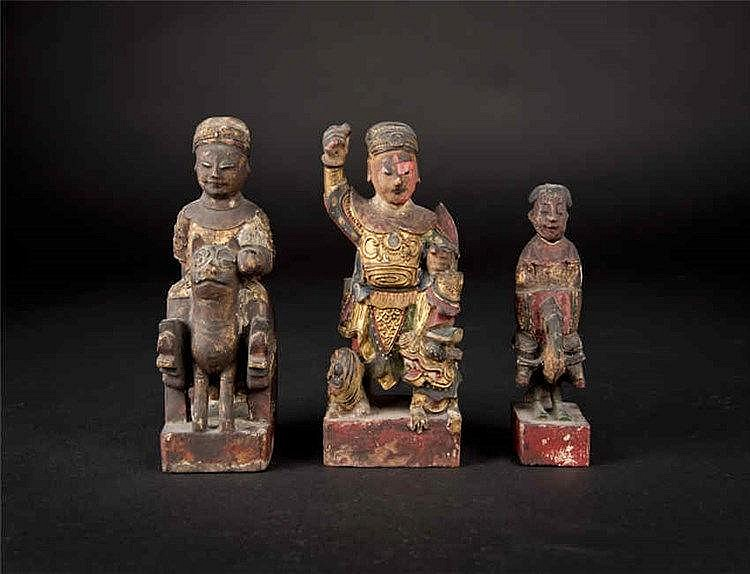 Qing, A Group of Three Wood Wealth Immortal Carvings 清木财神(一组三件)