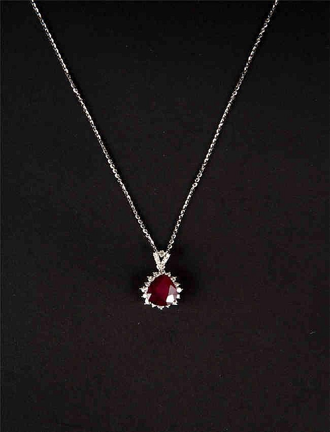 14KT White Gold 5.62ct Ruby and Diamond Pendant With Chain, GGL Certification 14KT白金5.62ct