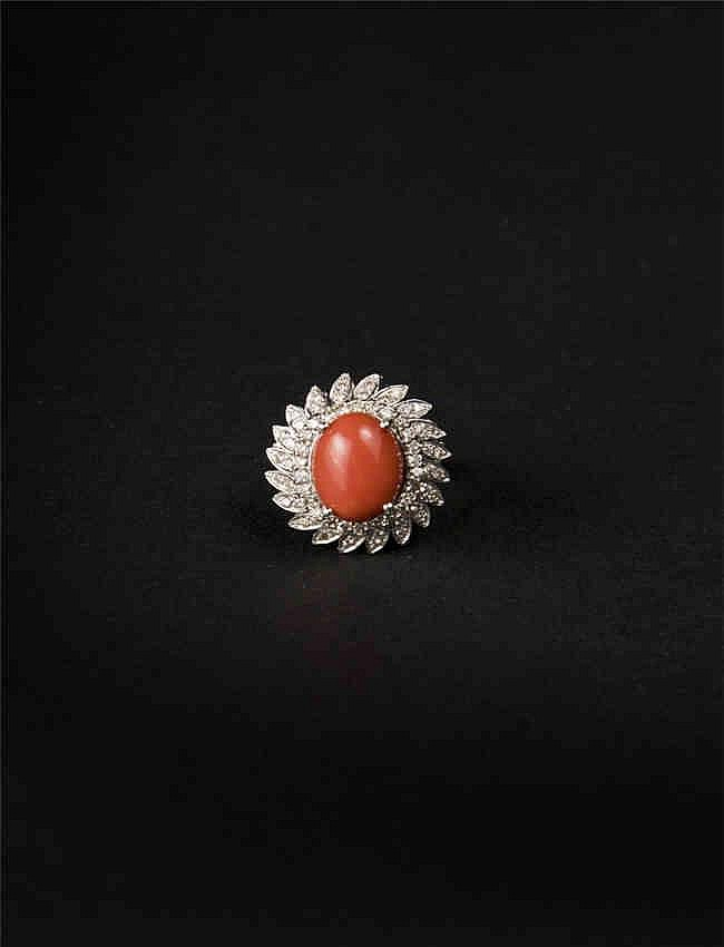 14KT White Gold 7.00ct Coral And Diamond Ring, AIG Certification 14KT白金7.00ct珊瑚钻石戒指, AIG认证