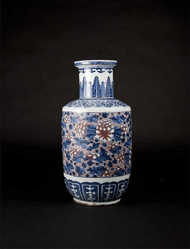 Qing, Underglazed Blue with Cooper-red Mallet Vase with Peony 清青花釉里红牡丹花棒棰瓶 高 (Height):45.0cm