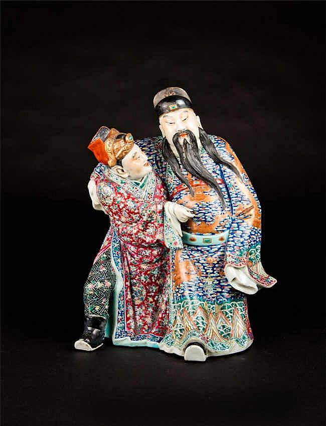 Republic Period Famille-rose Poet Li Bai with Attendant Artist Mark Weihong Tai民国粉彩人物李白醉酒(魏洪泰) 高 (Height):32.2cm