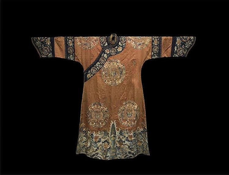 Qing, Embroidered Dragon Robe with Flower 清朝龙袍花卉一件 长(Length):143cm 宽(Width):214cm