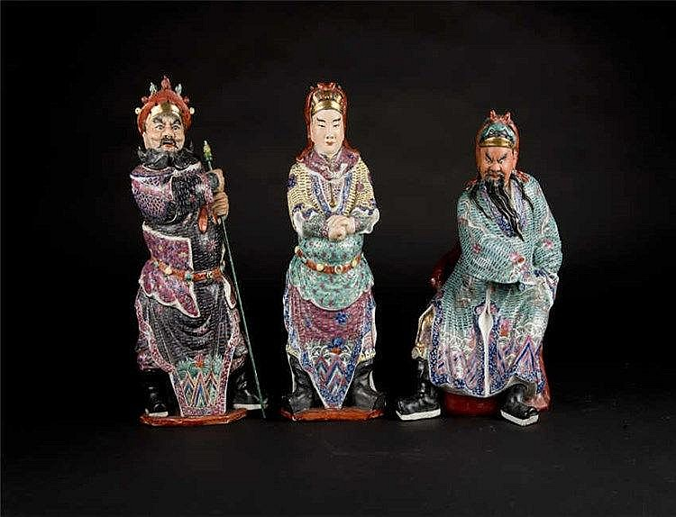Republic Period Famille-rose Figures of General Guan, his son, Guan Ping and, General Zhou Cang 民国粉彩人物关公,关平,周仓(一套三个)