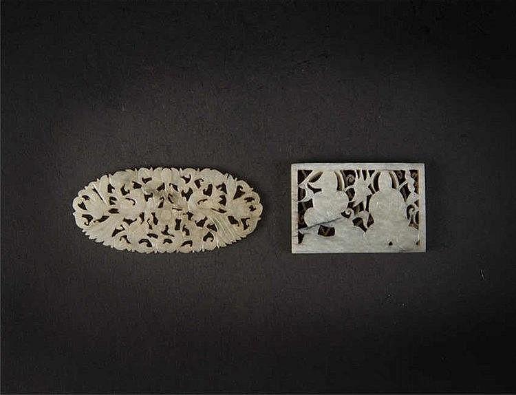 Two openwork jade; right: Qing dynasty, left: Ming dynasty 明玉镂空雕人物四方镶嵌 青玉镂空雕花鸟镶嵌